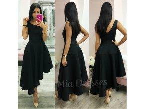 Čierne spoločenské asymetrické šaty