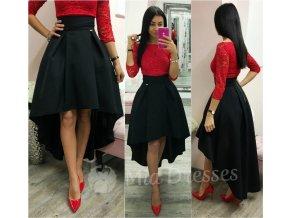 Čierna asymetrická skladaná sukňa