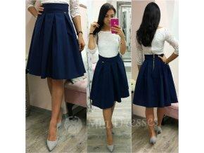 Tmavomodrá áčková krátka sukňa