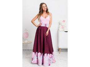 Bordová dlhá kvetinová sukňa