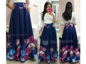 Tmavomodrá dlhá kvetinová sukňa