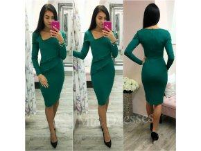 Smaragdové midi šaty s dlhými rukávmi