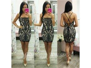 Telové mini šaty s čiernou krajkou