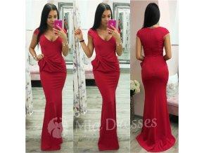 Červené spoločenské šaty s mašľou