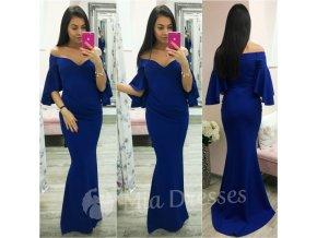 Modré spoločenské šaty s volánovými rukávmi