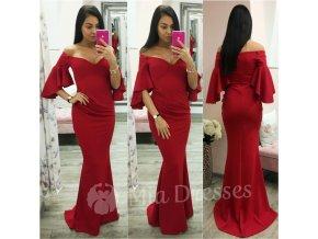 Červené spoločenské šaty s volánovými rukávmi