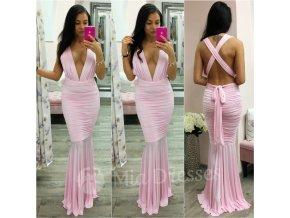 Svetloružové spoločenské nariasené šaty