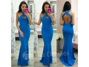 Modré spoločenské šaty s prekríženými ramienkami