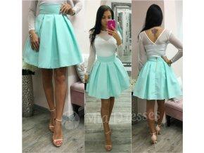 Mentolová áčková mini sukňa