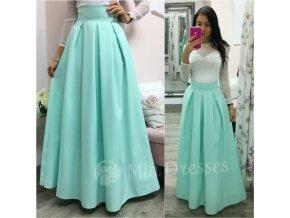 Mentolová dlhá skladaná sukňa