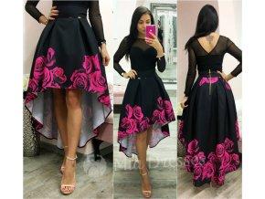Kvetinová asymetrická sukňa FUCHSIA