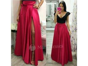 Červená dlhá sukňa s rozparkom