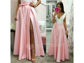 Svetloružová dlhá sukňa s rozparkom