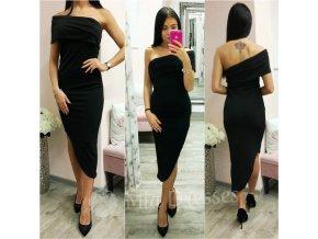 Čierne asymetrické midi šaty