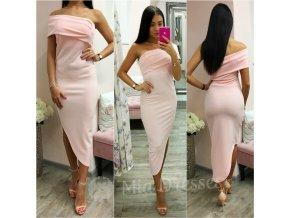 Púdrové asymetrické midi šaty