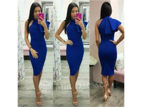 Modré midi šaty s volánom