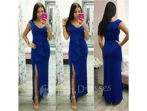 Modré šaty s mašľou a rozparkom