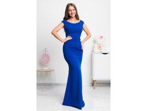 Modré dlhé spoločenské šaty