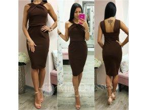 Hnedé midi šaty