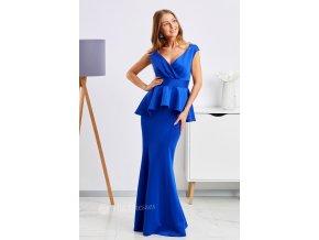 Modré spoločenské peplum šaty