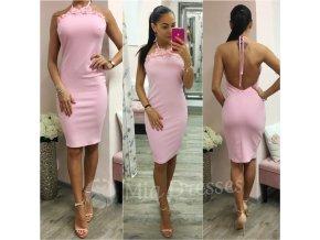 Ružové midi šaty s odhaleným chrbtom