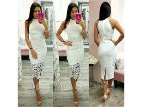 Biele krajkové midi šaty s rozparkom