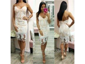 Midi šaty s bielymi výšivkami