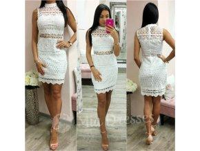 Biele krajkové mini šaty