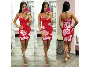 Červené kvetinové mini šaty