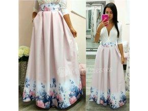 Staroružová dlhá kvetinová sukňa