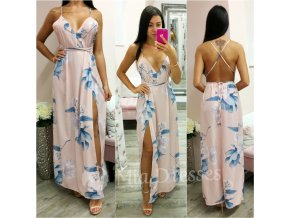 Svetloružové letné kvetinové šaty s rozparkom
