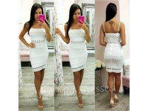 Biele mini šaty s krajkou