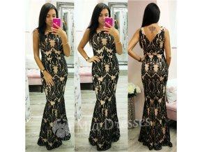 Béžovo-čierne spoločenské šaty s flitrami