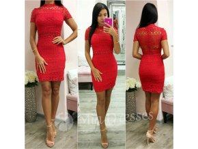 Červené krajkové mini šaty