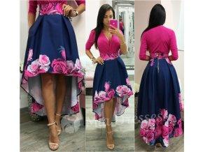 Modro-ružová kvetinová asymetrická sukňa