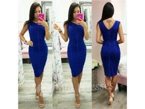 Modré prešívané midi šaty
