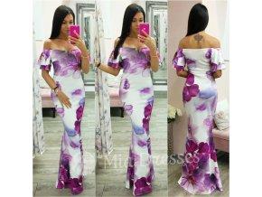Fialovo-biele spoločenské kvetinové šaty