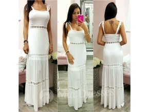 Biele dlhé šaty na ramienka