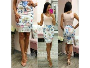 Kvetinová krátka sukňa s vysokým pásom