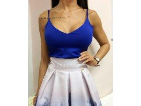 Modrý top s tenkými ramienkami