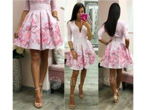 Ružová kvetinová mini sukňa