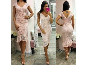 Púdrové čipkované midi šaty