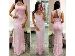 Ružové čipkované spoločenské šaty