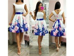 Smotanové kvetinové áčkové krátke šaty
