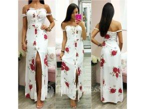 Biele kvetinové dlhé šaty s gombíkmi