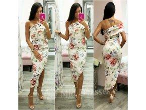 Púdrové kvetinové asymetrické šaty