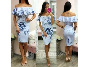 Modrofialové kvetinové midi šaty s volánom