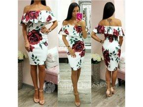 Biele kvetinové midi šaty s volánom