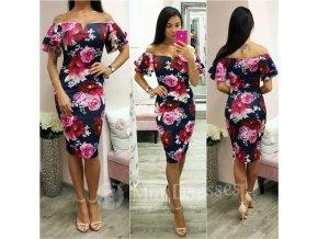 Tmavomodré kvetinové midi šaty s volánom