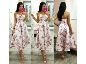 Ružové midi šaty s kvetinami